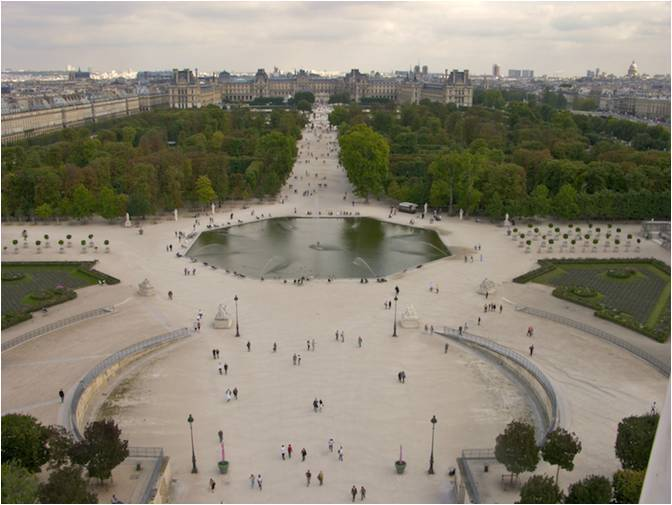Tuileries Garden , stepped terraces to replace the distance between the Palace and the garden.[8]