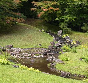 Streams feed larger ponds in Motsuji Temple [9]