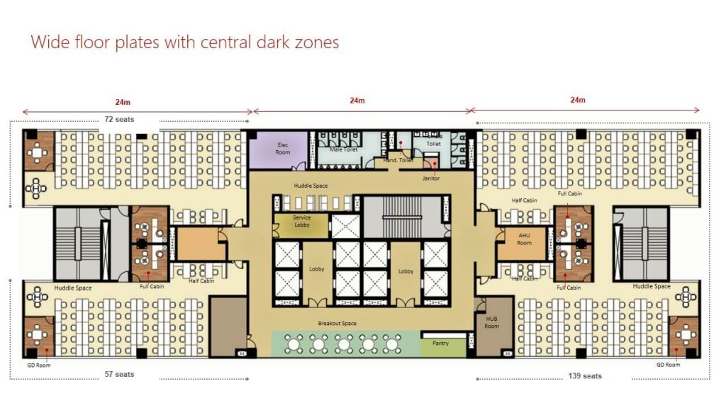 06 Wide floor plates with central dark zones